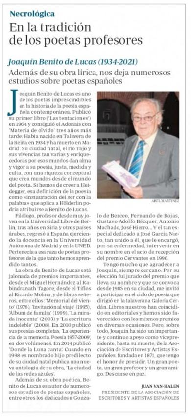 NECROLÓGICA. EN LA TRADICIÓN DE LOS POETAS PROFESORES. POR JUAN VAN-HALEN.